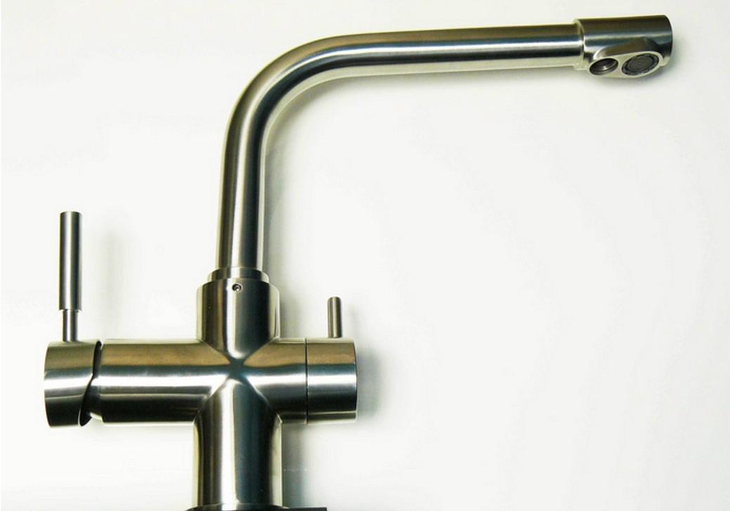 Robinet 3 voies carbonit acier bross deluxe eau - Robinet 3 voies ...