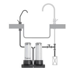 schema d'installation filtre sous évier Carbonit Duo avec robinet séparé